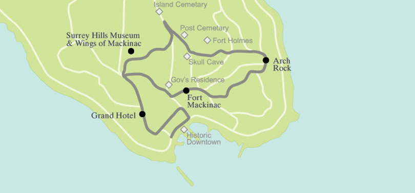 Tour Mackinac Island on a Mackinac Island Carriage Tour on chicago attractions map, birmingham attractions map, milwaukee attractions map, new haven attractions map, yellowstone national park attractions map, fire island attractions map, venice attractions map, macomb county attractions map, south bass island attractions map, roosevelt island attractions map,